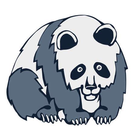 Vector background hand drawn panda. Hand drawn ink illustration. Modern ornamental decorative background. Print for textile, cloth, wallpaper, scrapbooking