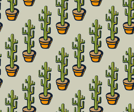 Vector background hand drawn cactus, succulent. Hand drawn ink illustration. Modern ornamental decorative background. Vector pattern. Print for textile, cloth, wallpaper, scrapbooking