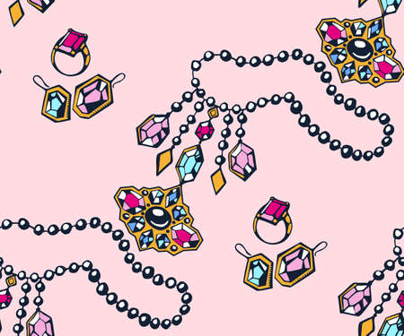 Vector background hand drawn jewelery. Hand drawn ink illustration. Modern ornamental decorative background. Vector pattern. Print for textile, cloth, wallpaper, scrapbooking Vector Illustratie