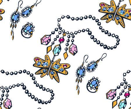 Vector background hand drawn jewelery. Hand drawn ink illustration. Modern ornamental decorative background. Vector pattern. Print for textile, cloth, wallpaper, scrapbooking Stock Illustratie