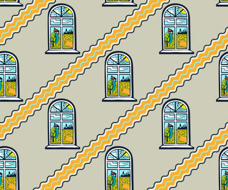 Vector flat windows with landscape. Hand drawn ink illustration.