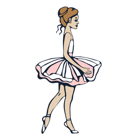 Vector background hand drawn ballerina. Hand drawn ink illustration. Modern ornamental decorative background. Print for card, textile, cloth, scrapbookin