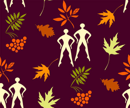 autumn leaves and ballerina seamless pattern. Creative background with leafs Stock Illustratie