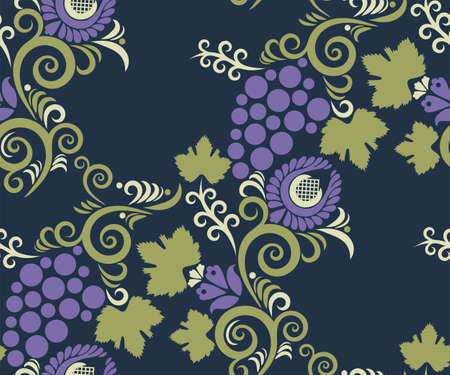 ornamental hand drawing grapes decorative background. Ethnic seamless pattern ornament. 矢量图像