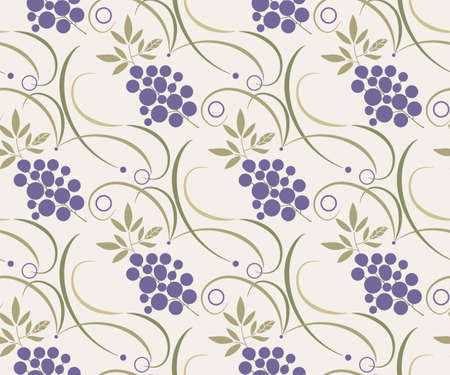 Vector ornamental hand drawing grapes decorative background. Ethnic seamless pattern ornament. Vector pattern. 矢量图像