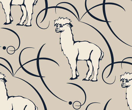 background hand drawn exotic wild llama alpaca. Hand drawn ink illustration. Modern ornamental decorative background. Print for textile, cloth, wallpaper, scrapbooking