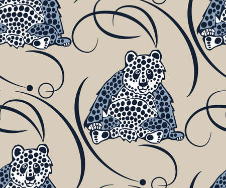 background hand drawn exotic wild animals panda. Hand drawn ink illustration. Modern ornamental decorative background. Print for textile, cloth, wallpaper, scrapbooking 矢量图像