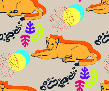 background hand drawn exotic wild animals cats. Hand drawn ink illustration. Modern ornamental decorative background. Print for textile, cloth, wallpaper, scrapbooking