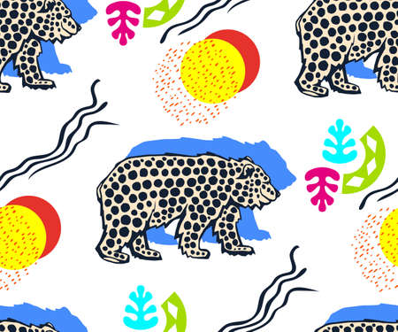 background hand drawn wild animals bear. Hand drawn ink illustration. Modern ornamental decorative background. Print for textile, cloth, wallpaper, scrapbooking