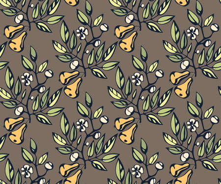 Vector ornamental hand drawing pear decorative background. Ethnic seamless pattern ornament. Vector pattern.