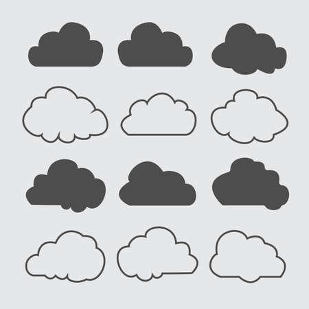 Wolken silhouetten. Vector set wolken vormen. Verzameling van verschillende vormen en contouren. Ontwerpelementen voor de weersvoorspelling, webinterface of cloudopslagtoepassingen.