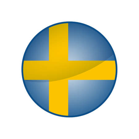 Round button national flag of Sweden Icon country.