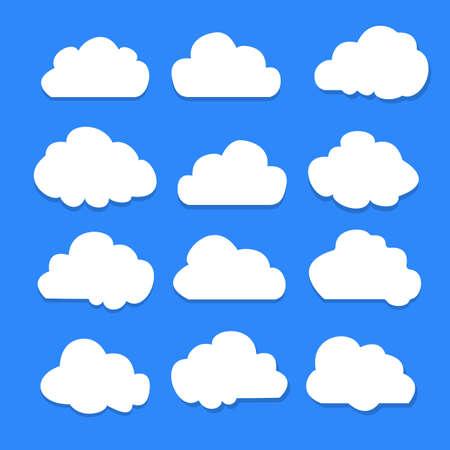 Set of clouds on blue sky illustration. Vector Illustration Ilustracja