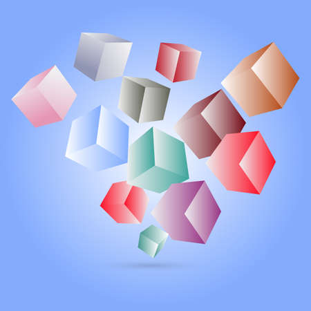 Abstract background with multicolor squares. Vector illustration.Flying Cubes Banco de Imagens - 125462078