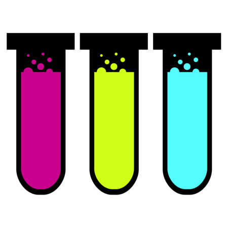 Three test tubes of different colors. Test tube vector icon