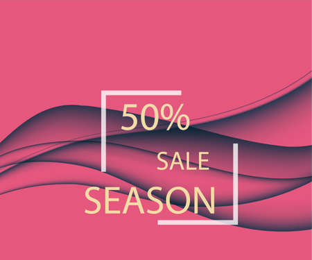Abstract design of a seasonal sale with wavy lines in a dynamic elegant style on a scarlet background. Vector illustration