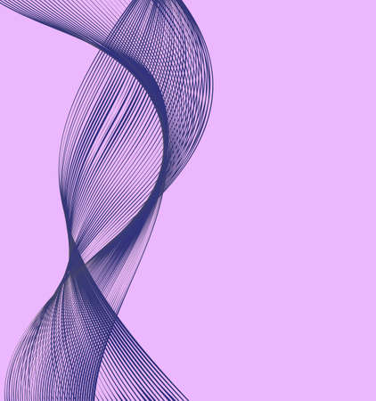 Abstract modern lines of violet color, wave designed on pink background. Vector illustration for your web design or website. Ilustração