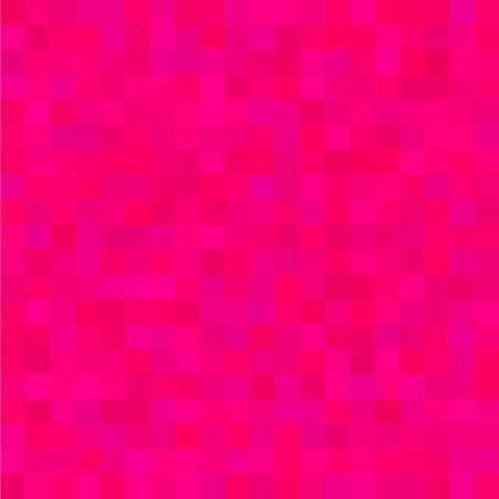 Pink Square Mosaic Background. Seamless 3D Pixel Mosaic. Vintage Colorful Texture. Vector illustration.