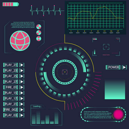 Elemento de interfaz de usuario de HUD para la aplicación. Interfaz de usuario futurista. Creative Head Up Muestra la interfaz infográfica o elementos web. Interfaz de usuario táctil gráfica virtual abstracta. Interfaz de interfaz de usuario hud infografía monitor de pantalla de radar.