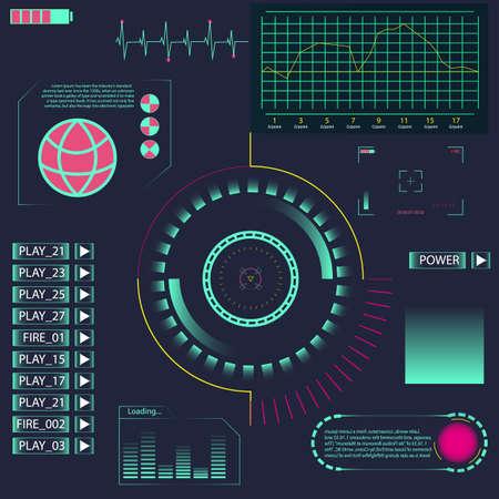 HUD-UI-Element für App. Futuristische Benutzeroberfläche. Creative Head Up Zeigt die Infografik-Oberfläche oder Webelemente an. Abstrakte virtuelle grafische Touch-Benutzeroberfläche. UI-Hud-Infografik-Schnittstelle Bildschirm-Monitor-Radar.