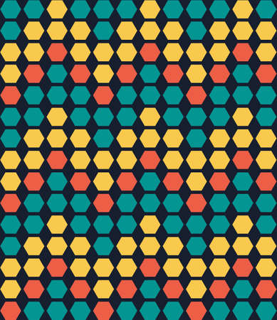 Retro colorful geometric hexagon seamless pattern. Vector illustration