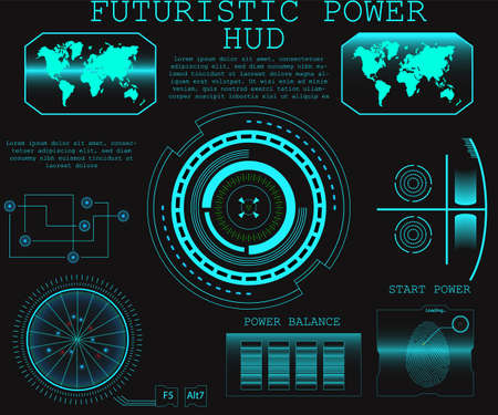 Abstract future, concept vector futuristic blue virtual graphic touch user interface HUD. Vector illustration Ilustração