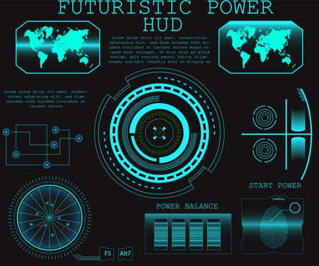 Avenir abstrait, concept vectoriel interface utilisateur tactile graphique virtuel bleu futuriste HUD. Illustration vectorielle