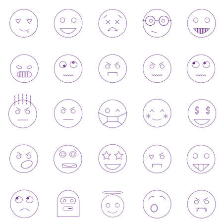 Set of outline emoticons, emoji isolated on white background, vector illustration. Stock Illustratie