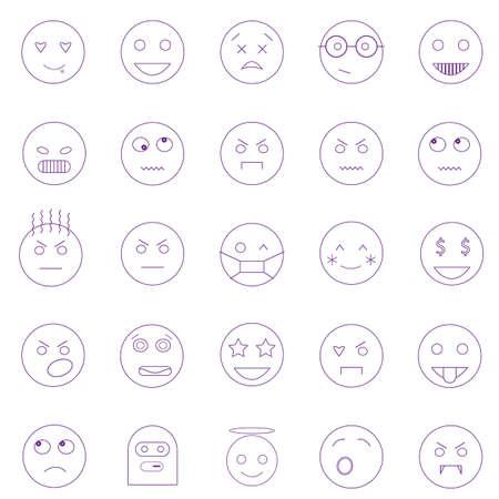 Set of outline emoticons, emoji isolated on white background, vector illustration.  イラスト・ベクター素材