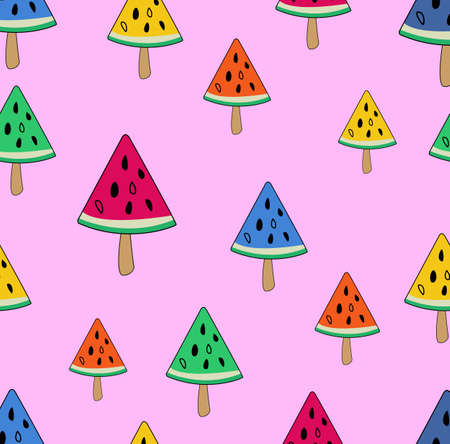 Watermelon ice cream on stick seamless pattern, Vector background with doodle ice creams.