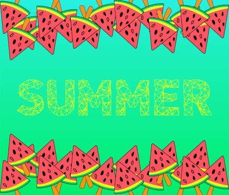 Summer Lettering and watermelon on a stick. Vector illustration. Ice-cream in the shape of watermelon on a stick