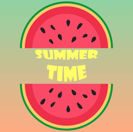 Summer Time Lettering and watermelon. Design for holiday greeting card and invitation of seasonal summer holidays, beach parties, tourism and travel