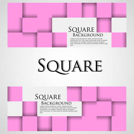 Banners with pink cubes. Banner with squares