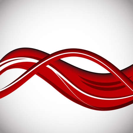 Vector Abstract curved red and white lines background. Template brochure design Ilustração