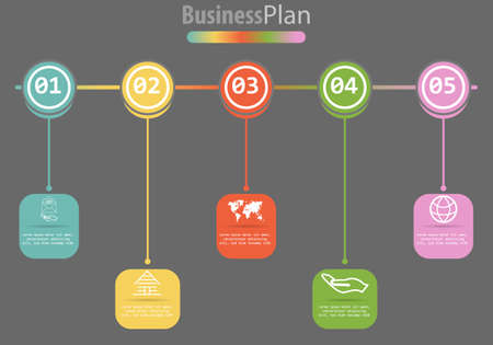 Vector infographic template for diagram, graph, presentation, chart, business concept with 5 options. Vector illustration Banco de Imagens - 125462120