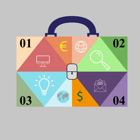 Infographics in the form of a business bag with 4 options. Vector illustration