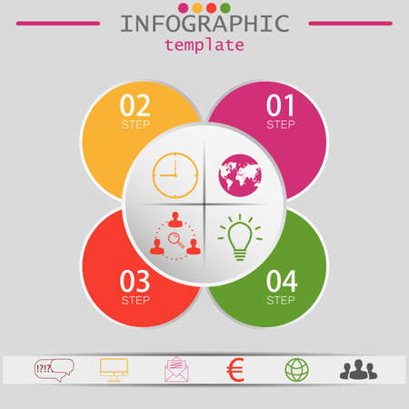 Vector elements for infographic. Template for diagram, graph, presentation and chart. Business concept with 3 options, parts, steps or processes. Abstract background. Ilustração