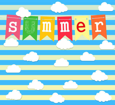 Summer. Vector background with set of clouds. Vector illustration