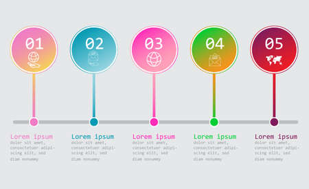 Five steps infographics - can illustrate a strategy, workflow or team work. 写真素材 - 125462129