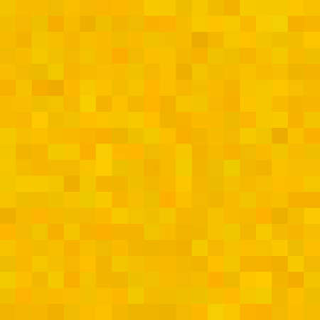 Yellow Square Mosaic Background. Seamless 3D Pixel Mosaic. Vintage Colorful Texture. Vector illustration.
