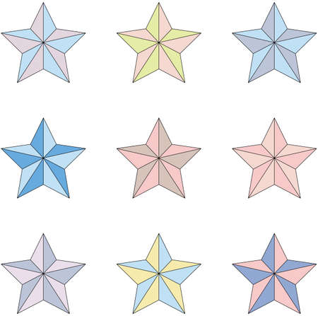 Set of multi-colored stars on a white background.