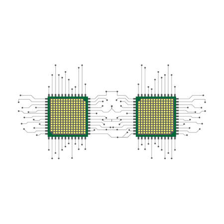 Cpu. Microprocessor. Microchip. Circuit board. Two microchips connected to each other