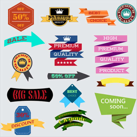 Vector illustration set of vintage Label, Banner Tag Sticker Badge and Ribbons design elements. Origami banners