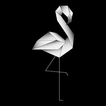 Polygonal outline flamingo on black background. Flamingo stylized triangle polygonal model