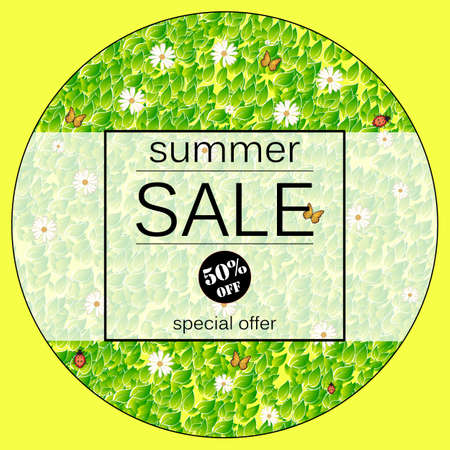 Summer Sale Yellow vector banner with fresh green leaves, chamomile, butterflyand. Summer Sale vector illustration.