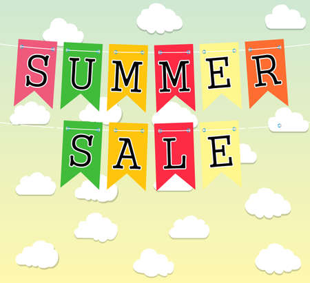Hard Discount Summer Sale With Clouds. Summer Sale With Cloud. Vector illustration