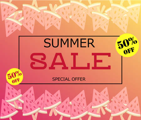 Summer Sale banner with pieces watermelon, bright design. Vector eps 10 format. Summer Sale vector illustration.