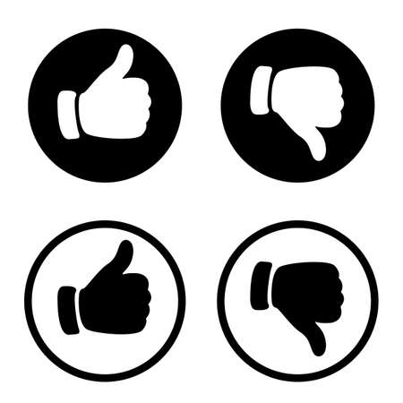 Vector Like icon and dislike icon, sign - vector illustration. Flat style