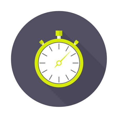 stopwatch icon, flat design. Flat icon with long shadow. Vector illustration.