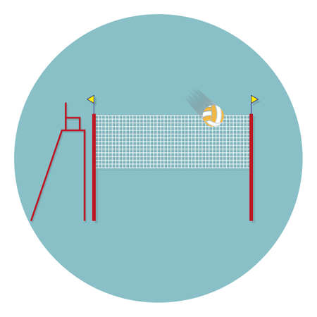 Volleyball net with ball sign icon. Beach sport symbol. Classic flat icon. Colored circles. volleyball flat icon with shadow